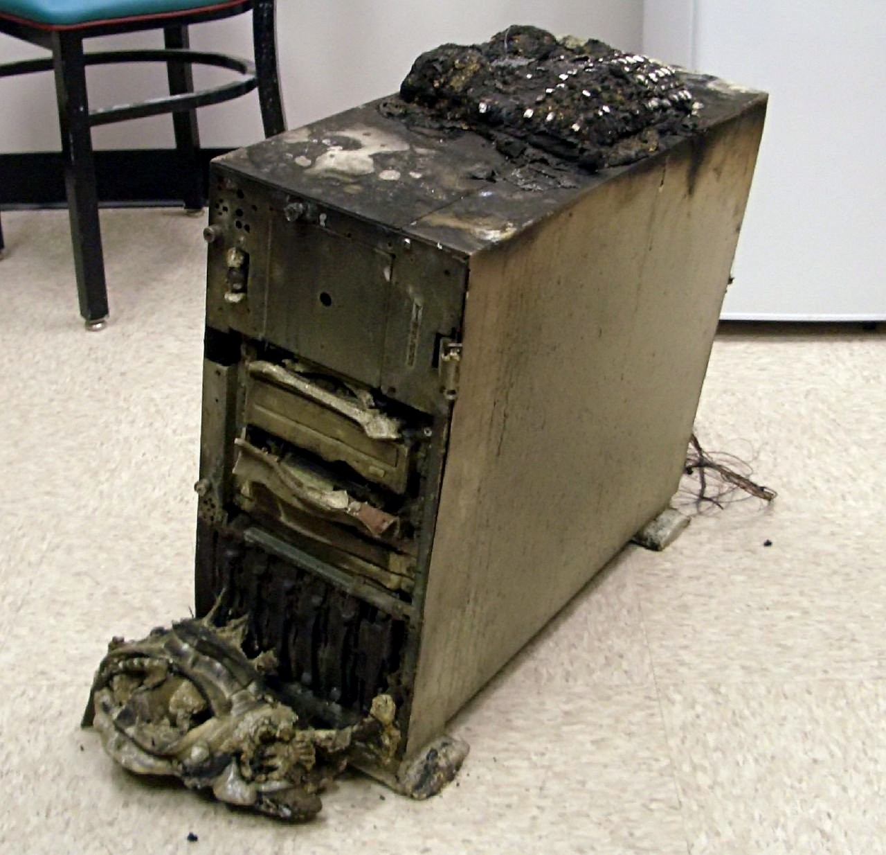 Burned down computer